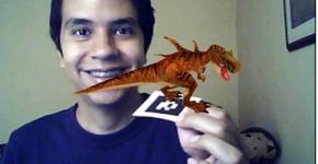 Dinosaurio en realidad aumentada